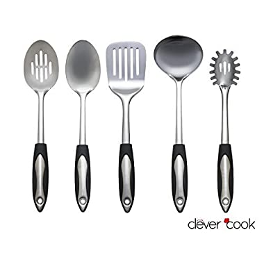 Clever Cook 5 Piece Stainless Steel Starter Set of Kitchen Utensils for Cooking and Serving