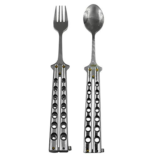 Caliber Gourmet Tactical Butterfly Knife Style Fork and Spoon Combo Pack -Folding Stainless Steel