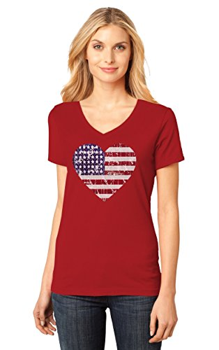 American Heart Flag USA Flag Heart Patriotic 4th of July Women's Fitted V-Neck T-Shirt XX-Large Red (July Womens V-neck T-shirt)