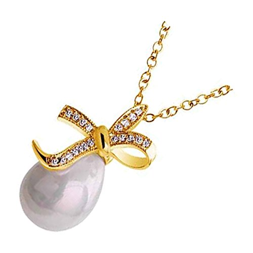 UPCO 18 X 27MM 18K Yellow Gold Plated Bowknot Pendant Necklace, Brilliant White Teardrop Faux Freshwater Pearl (Yellow Gold Necklace Teardrop)