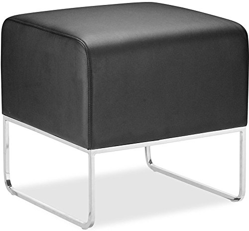 "Zuo Modern 103003 Plush Ottoman in Black; Contemporary and compact, upholstered in leatherette that stands up to high traffic; Understated chromed steel tube legs; 150 lbs. weight capacity; Dimensions 18""W x 18""H x 18.5""D"