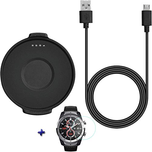 SAQIMA Charger For Ticwatch Pro Watch Charger Replacement Magnetic Fast Charging Cable Dock+Hydrogel film Professional