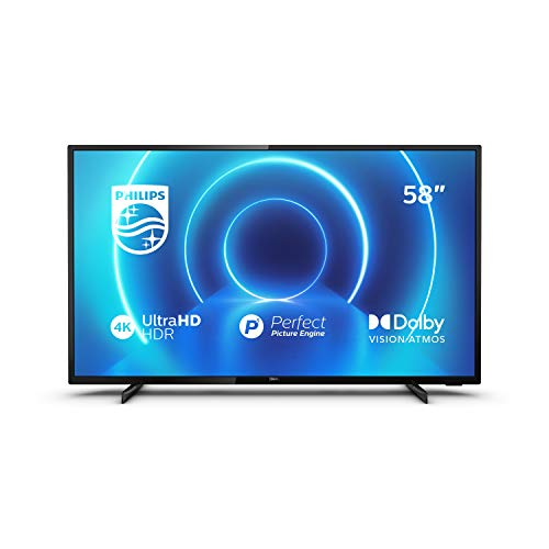 Philips 58PUS7505/12 58-Inch TV (4K UHD TV, P5 Perfect Picture Engine, HDR 10+ Supported, Smart TV, Dolby Vision, Dolby Atmos, Freeview Play, 3 x HDMI, 2 x USB) - Glossy Black (2020/2021 Model)