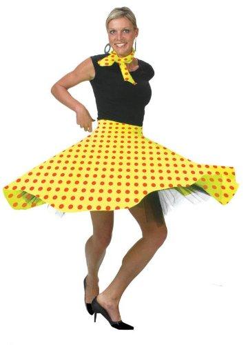 Bristol Novelty AC049F Rock n Roll Skirt, Yellow, Size 10 - 14 -