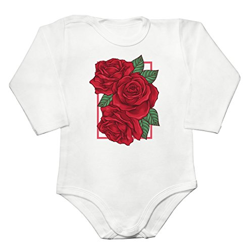 Three Roses Bouquet In A Rectangle Frame Baby Long Sleeve Romper Bodysuit Extra Small