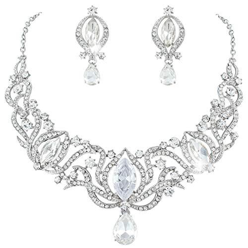 Janefashions Glamorous Clear Austrian Rhinestone Crystal Necklace Earrings Set N1782 Silver
