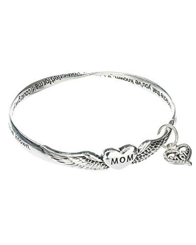 Jewelry Nexus Prayer For Mom Heart & Angel Wings Charm Bangle Bracelet