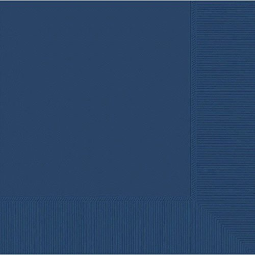 2-Ply Luncheon Napkins, 50 Pieces, Made from Paper, Navy Blue by Amscan (Napkins Blue And Dinner White)