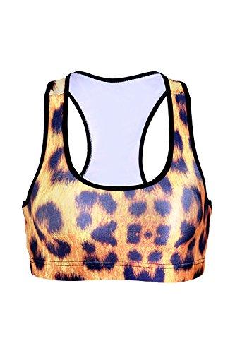 Sans jantes léopard des femmes imprimé Racerback soutien-gorge de sport Fitness