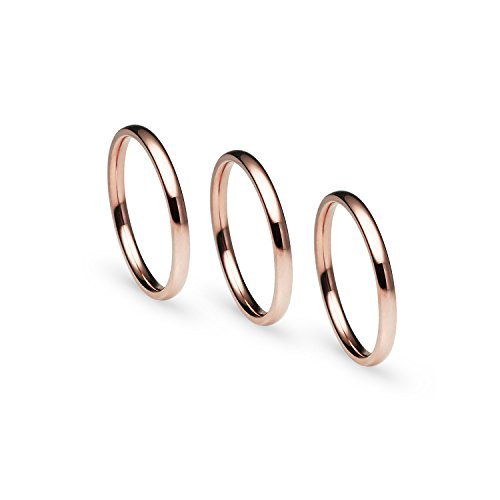 Silverline Jewelry Stackable 3 Piece Set Rose Gold Tone Stainless Steel Plain Comfort Fit Wedding Band Ring, Size 10