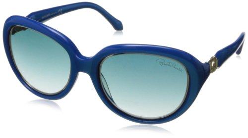 Roberto Cavalli Women's RC781S5687W Round Sunglasses,Shiny Turquoise,56 - Sunglasses Roberto Cavalli Logo