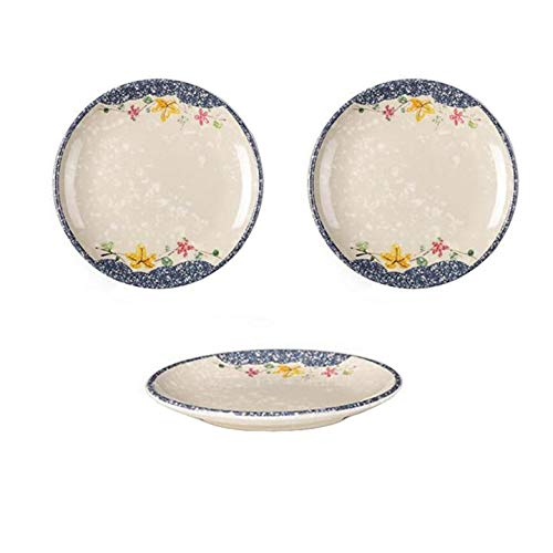 CLWXHS 6-inch Melamine Dinnerware Set Dinner Plate Dishes Meal Supper Home Family Pack of 3