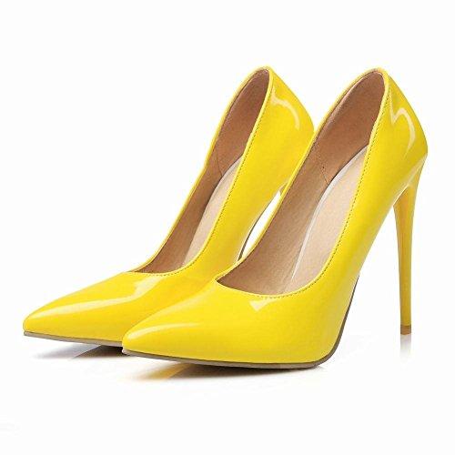 YE Damen Stiletto High Heels Lack Spitze Pumps mit 12cm Absatz Elegant Schuhe Gelb