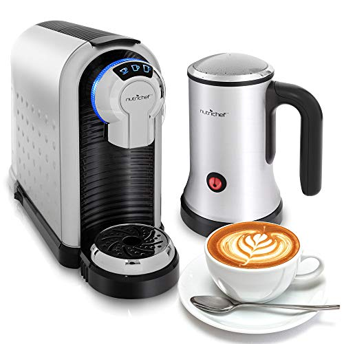 Automatic Coffee Pod Espresso Machine – Bundle w/ Hot Cold Auto Milk Frother, Electric Capsule Pods Pro Home Brewer Maker w/ Brew Cup Sizes, Compatible w/ Nespresso Capsules – NutriChef PKNESPRESO70