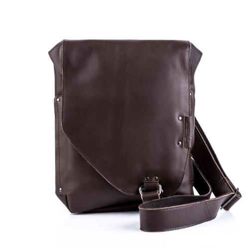 BACCINI bolso bandolera (messenger bag) BRIZIO: cartera portátil para hombre GRANDE - mensajero de cuero marrón - diseño retro-vintage / ipad (29 x 33 x 7cm)