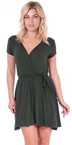 Popana Women's Casual Summer Dress Midi Swing Faux Wrap Sundress Made in USA Olive -