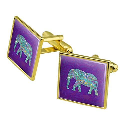 GRAPHICS & MORE Mosaic Elephant Square Cufflink Set Gold Color