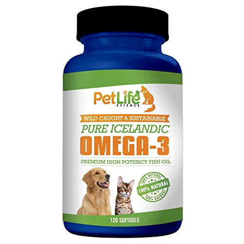 Cheap Pet Life Science Pure Icelandic Fish Oil for Dogs and Cats, 100% Natural and Wild Caught, Total Omega-3 and 6 Fatty Acids, GMO Free, 120 Soft Gels