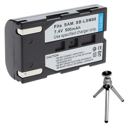 Replacement Battery for Specific Digital Camera and Camcorder Models / Compatible with Samsung SB-LSM80, SB-LSM160, SC: D351, D352, D353, D354, D355, D453, D455, VP: D351, D352I, D353I, D354, D355, D451, D453, D453I, D454, D455, D455I, D651, D653, D655 - Includes Mini Tripod with Expandable Legs