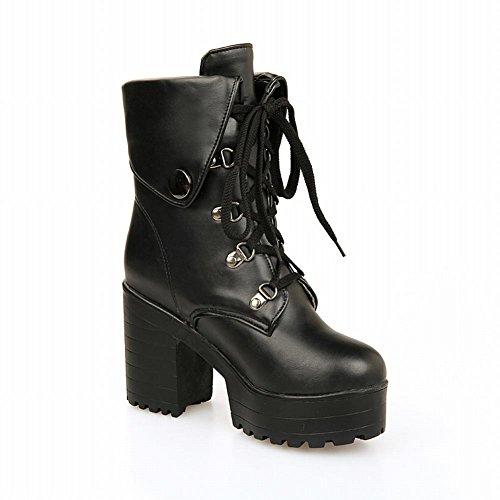 Carol Shoes Women's Modern High Heel Short Martin Boots Black yIvY94