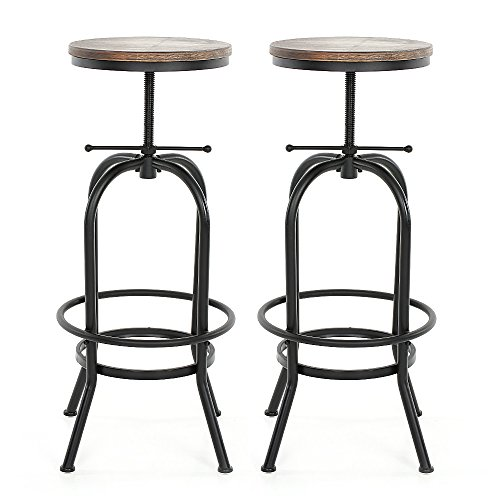 iKayaa Industrial Swivel Metal Frame Barstools Height Adjustable Wood Seat, Natural Pinewood Top ,Kitchen Dining Breakfast Chair Bar Stools, Set of 2