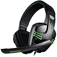 Gaming Headset, FociPow KX-101 Salar Series Gaming Headphone With Microphone for PC Over Ear Headphones Noise Cancelling(Black&Green)