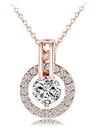 """18k Rose Gold Plated Austrian Crystal Circle Necklace Pendant with 18"""" Chain Christmas Jewelry Gift"""