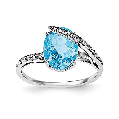 Sterling Silver Rhodium-plated Polished Swiss Blue Topaz Dia Accent Ring Size (Dia Swiss)