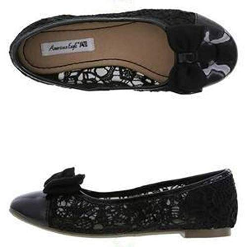 - American Eagle AE Little Girls Patent Leather Lace Bow Slip On Ballet Flats Shoes, US13.5, Black