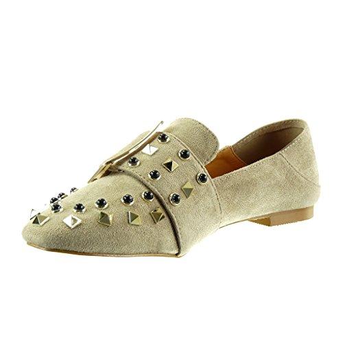 Angkorly Damen Schuhe Mokassin - Slip-on - Nieten - Besetzt - Schleife - String Tanga Blockabsatz High Heel 1 cm Khaki