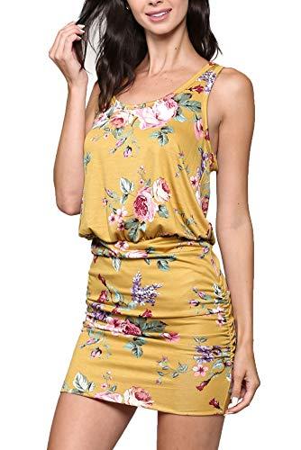 LaClef Women's Mini Ruched Tank Shift Dress (Mustard Floral, M)