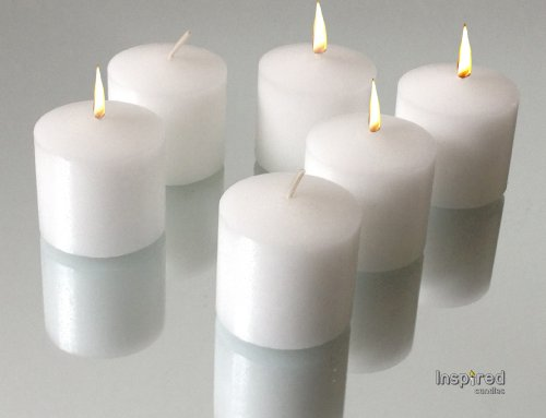 Inspired Candles 10 Hour Natural Soy Wax and Paraffin Wax Unscented Smokeless Votive Candles, Wh ...
