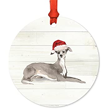 Andaz Press Animal Pet Dog Metal Christmas Ornament, Italian Greyhound with  Santa Hat, 1 - Amazon.com: Andaz Press Animal Pet Dog Metal Christmas Ornament