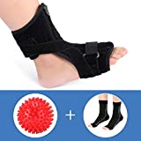 Plantar Fasciitis Night Splints for Drop Foot Orthotic Brace and a Hard Spiky Massage Ball Roller for Women and Men Sleeping and Resting, Fits Both Left and Right Foot (Splint+Socks+Ball)