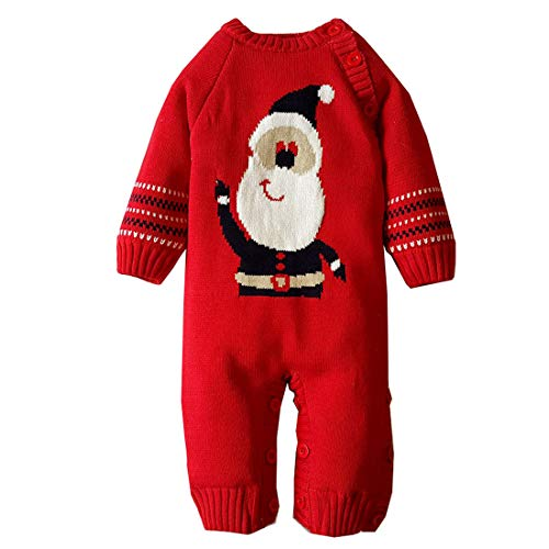Mornyray Newborn Baby Boy Girl Sweater Fleece-Lined Christmas Romper Outfit Size 3-6M (Red)