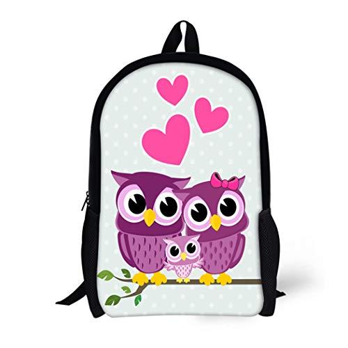 Pinbeam Backpack Travel Daypack Family Cute Owls Couple Baby Sitting on Branch Waterproof School Bag