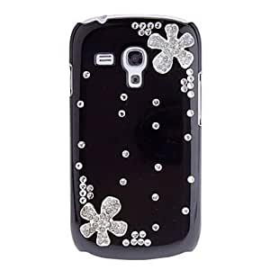 GHK - Fashion Crystal Flowers Diamond Hard Back Cover Case for Samsung Galaxy S3 Mini I8190 , Black