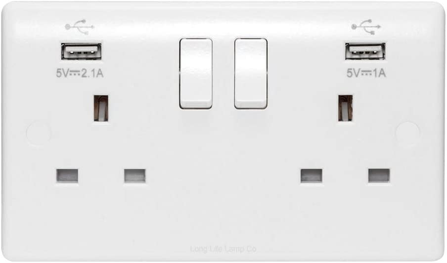 UK STOCK Double Wall UK Plug Socket 2 Gang with 2 USB Charger Port Outlet Plate