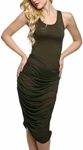 2e313c112ca6 Hqclothingbox Womens Sleeveless Sexy Bodycon Midi Bandage Party Evening  Dresses
