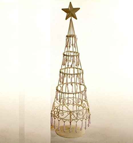 creamivory wire frame table top christmas tree 50cm with white pearl drop decor pack