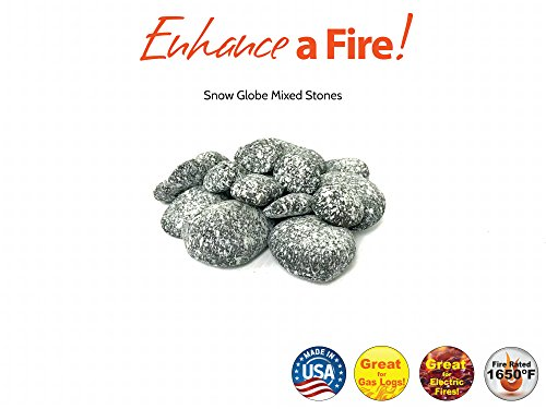 Enhance A Fire! Spattered Mixed Stones (Snow (Natural Snowglobe)