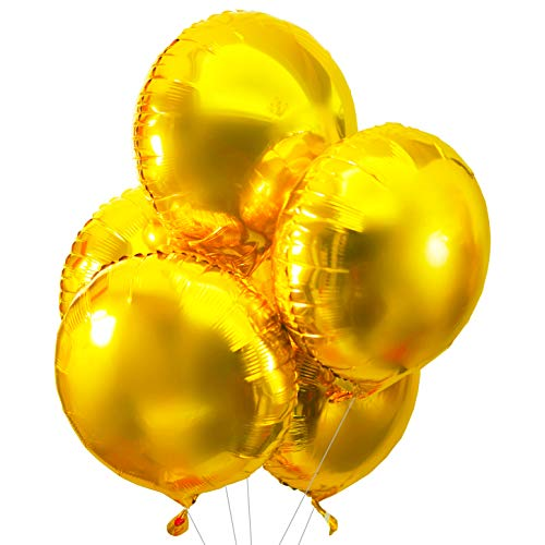 (Glitter Gold Party Foil Balloons Round Mylar Balloons Wedding Helium Balloons Baby Shower Birthday Engagement Party Favors Balloons Decorations, 25pc)