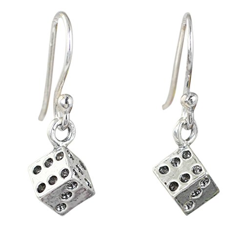 NOVICA .925 Sterling Silver Casino Theme Good Luck Dangle Earrings