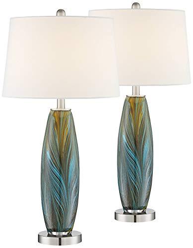 - Azure Art Glass Table Lamps Set of 2-360 Lighting