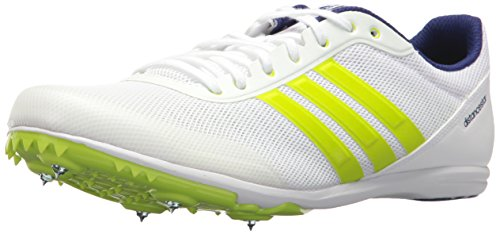 adidas Men's Distancestar, White/Zero Metallic/Slime, 11 M US (Best Track Shoes For Mid Distance)