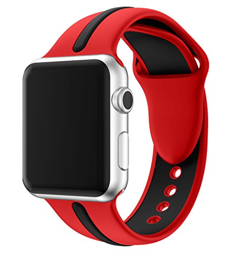 EloBeth Compatible iWatch Band 40mm 38mm, Soft Silicone Sport Replacement Wrist Strap Stripe Color Splicing for Apple Watch Series 4/3/2/1 Nike+ Sport Edition Smart Watch (Stripe-Red/Black, 40/38mm)