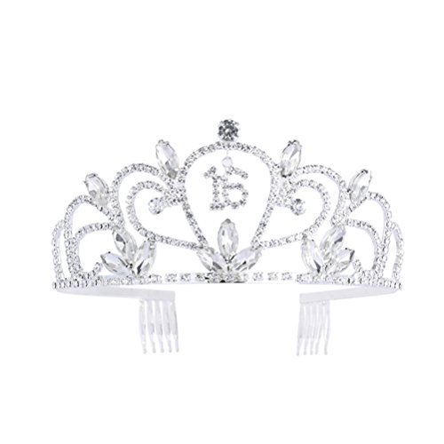 Frcolor Sweet 16 Birthday Tiara Rhinestone Crystal Crown for 16th Birthday Gift Party Accessories]()