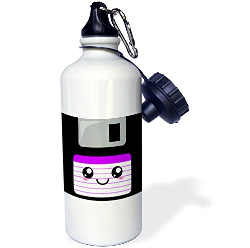 3dRose wb_57454_1 ''Kawaii Cute Happy Floppy Disk old school computer Japanese Anime Smiley cartoon in purple'' Sports Water Bottle, 21 oz, White by 3dRose