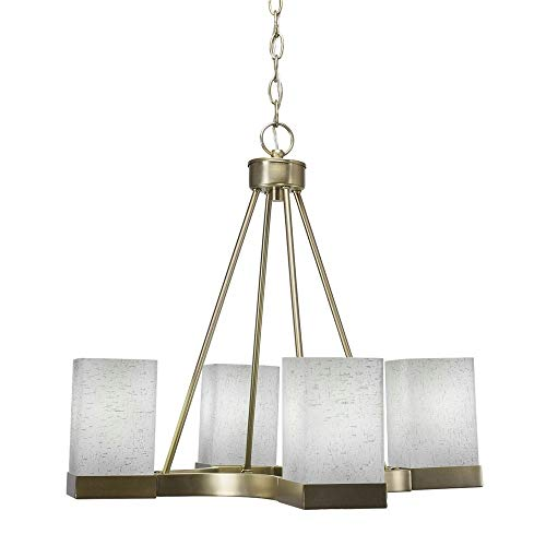 Nouveau Brass Chandelier - Toltec Lighting 3024-NAB-531 Nouvelle - Four Light Chandelier, New Age Brass Finish with White Muslin Glass