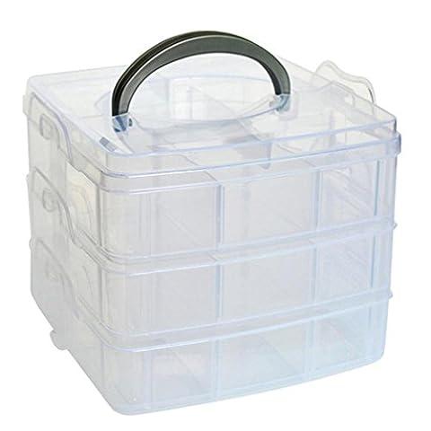 Koolee Clear Plastic Jewellery Box Organizer 3 Layer Small Objects Storage Organizer (White) (Martha Stewart Round Corner)